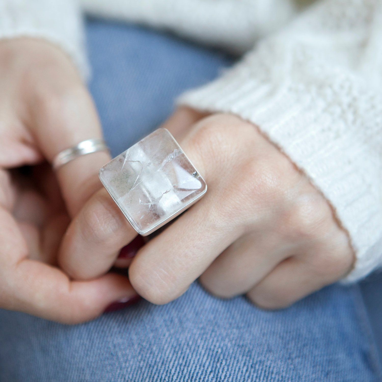 Transparent Ring Crystal Quartz Ring Crystal Ring Crystal Quartz Silver Ring Sterling Silver Ring,Handmade Ring Women/'s Ring