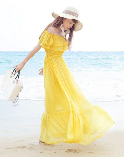 Off Shoulder Ruffle Chiffon Dress