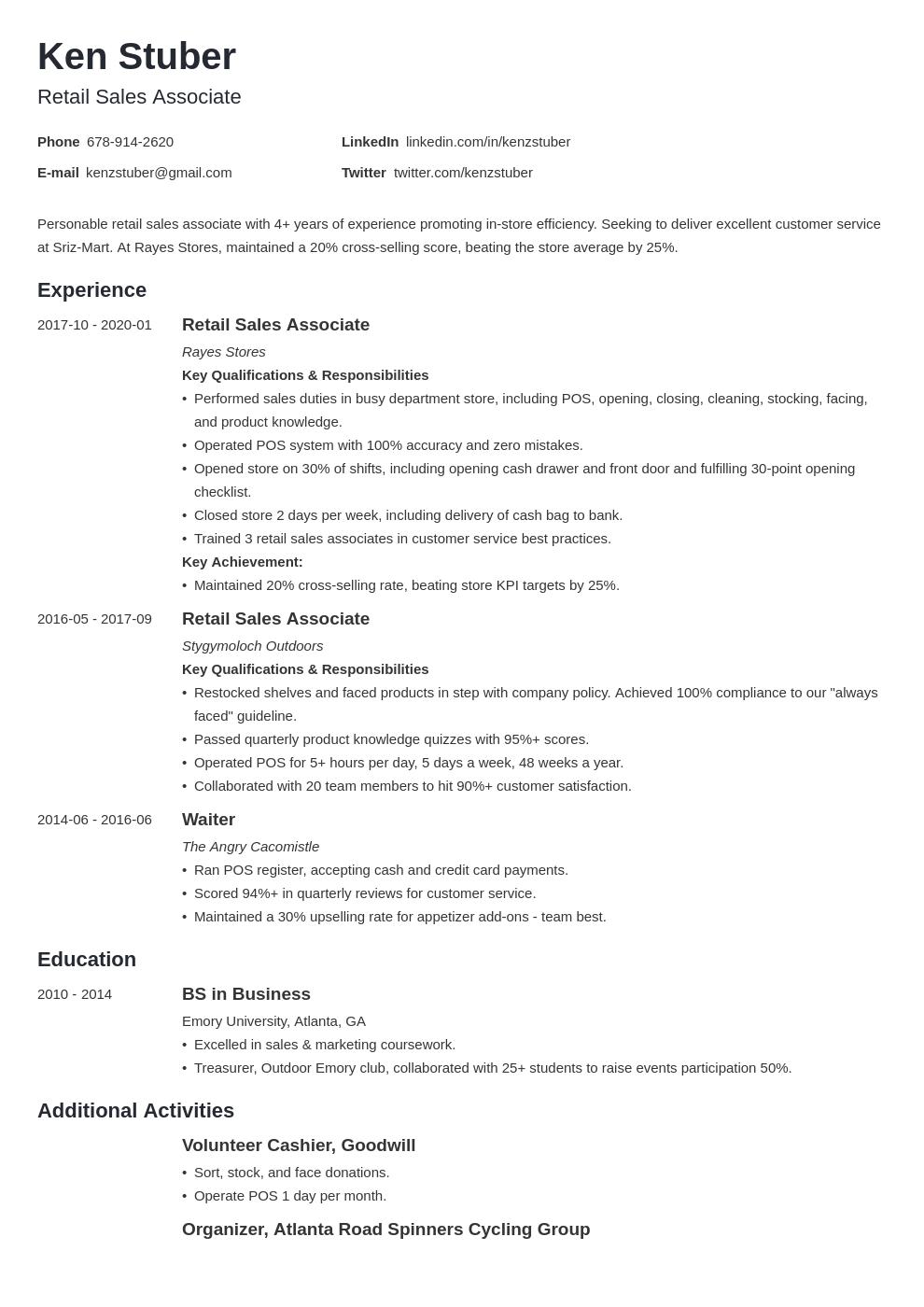 Retail Sales Associate Resume Example Template Minimo Resume Examples Job Resume Examples Resume