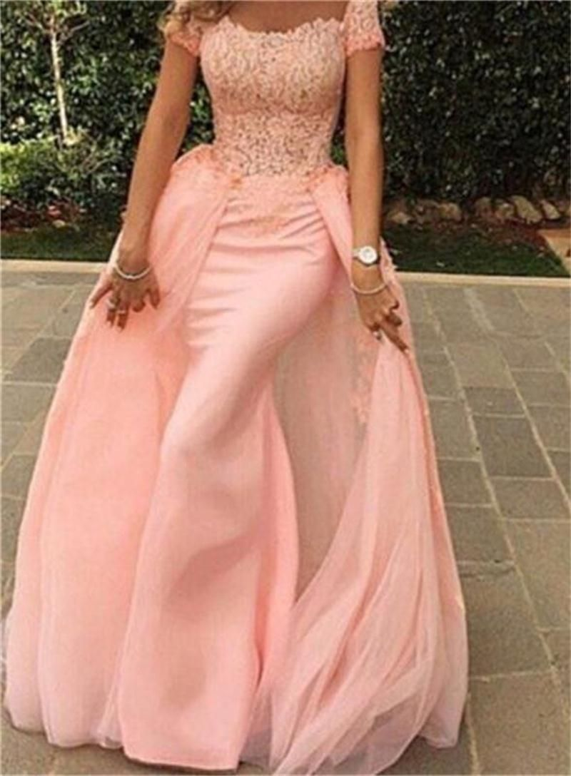 Click to buy ucuc fashion pink mermaid prom dresses with train