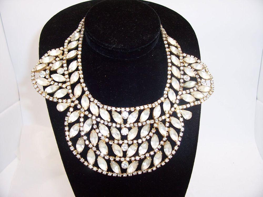 Huge Juliana Clear & Frosted Rhinestone Bib Collar Necklace