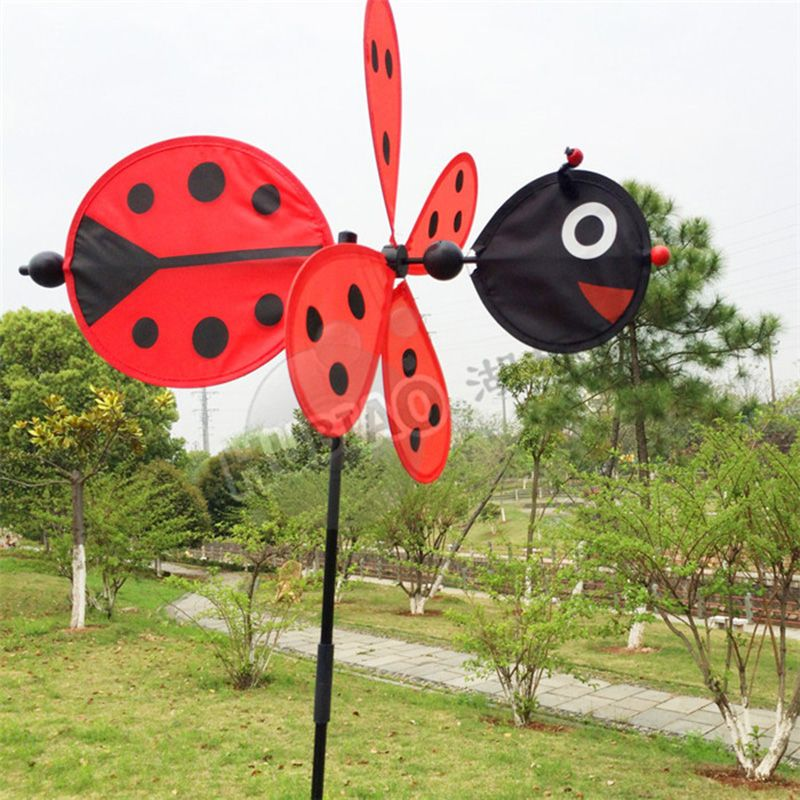 Bee Beetle Animal Windmill Garden Ornaments Multicolor Wind Spinner  Whirligig Garden Windmill Cloth For Garden Home