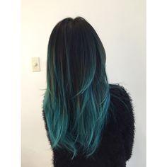 Goregous Blue Balayage On Jet Black Hair Marycake Blue Ombre