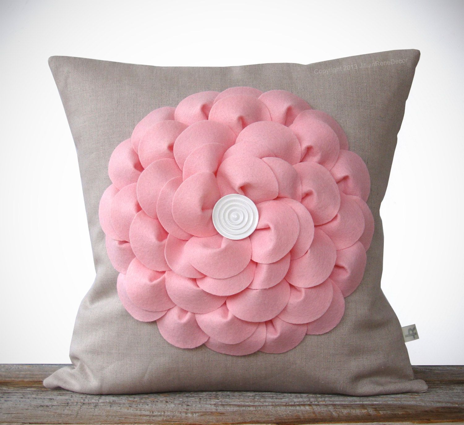 Petal Pink Flower Pillow In Natural Linen With Button Center By