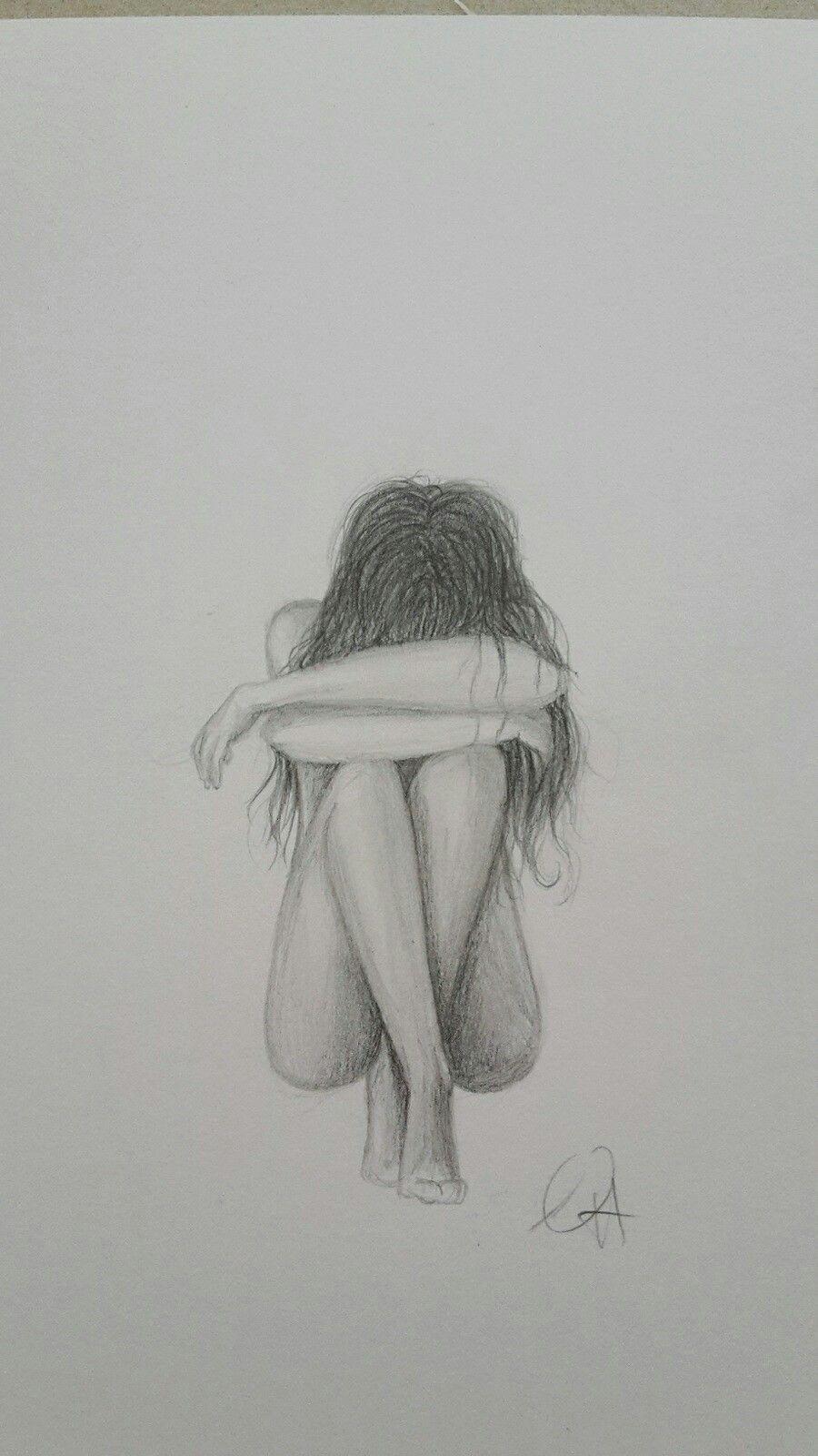 Zeichnung trauriges Mädchen