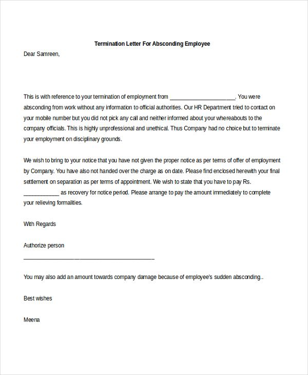 Job Termination Letter Termination Of Employment Letter Employer