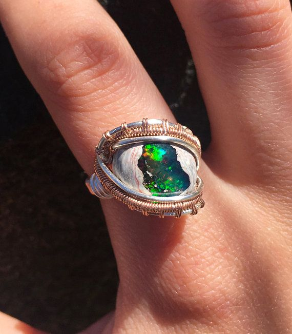 Mexican Fire Opal 14K Rose Gold and Silver Wire Wrapped Ring, Statement Ring, Size 6.5 Ring ...