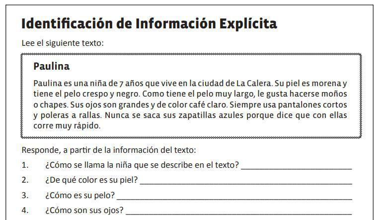 Habilidades De Comprension Lectora Identificar Informacion
