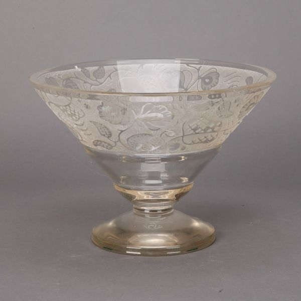 Large Glass Decorative Bowls Pleasing Large Art Deco Etched Glass Pedestal Bowl  Circa 1930S Large Design Decoration
