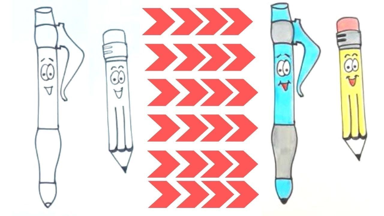 How To Draw Pen And Pencil Easy Drawing For Kids Moon For Kids Easy Drawings