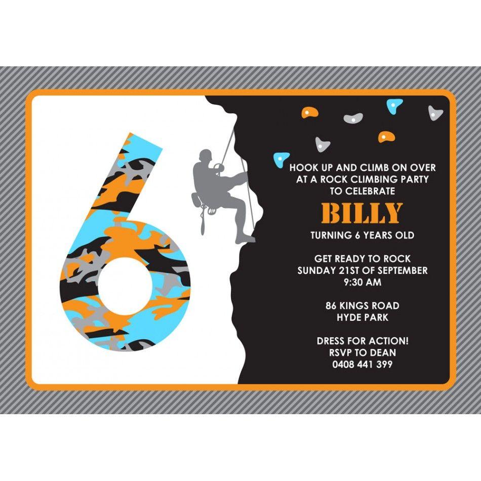 Rock Climbing Birthday Party Printable Invitation | Kids ...