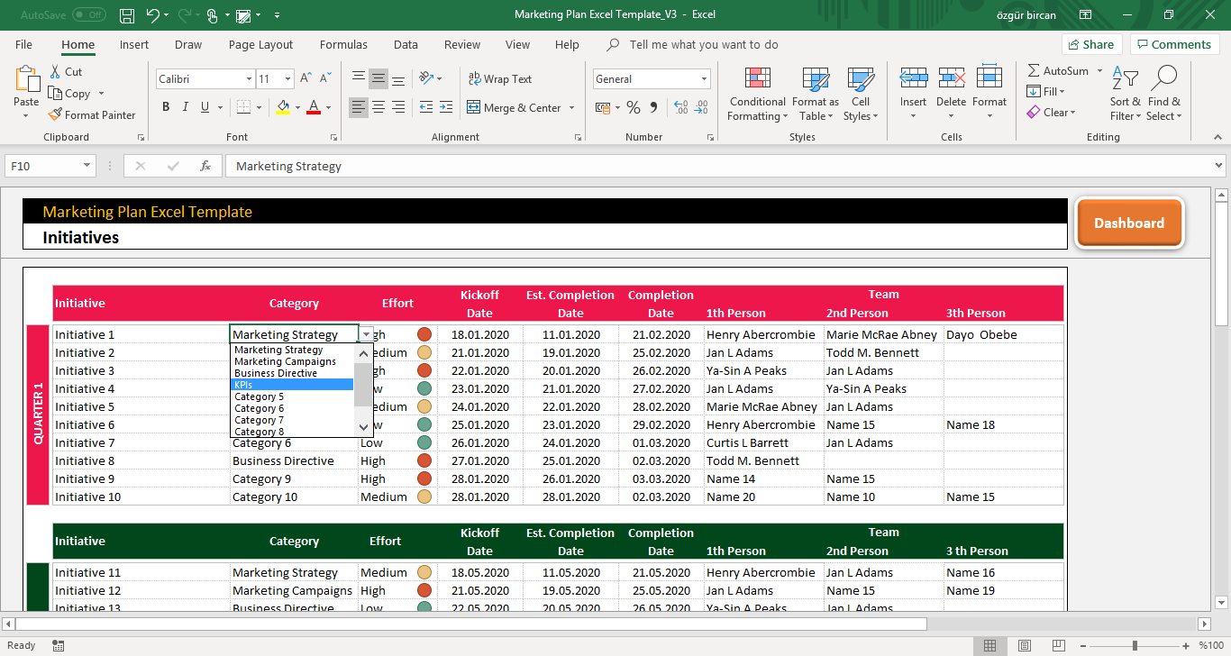 Marketing Plan Excel Template in 2020 | Excel templates ...