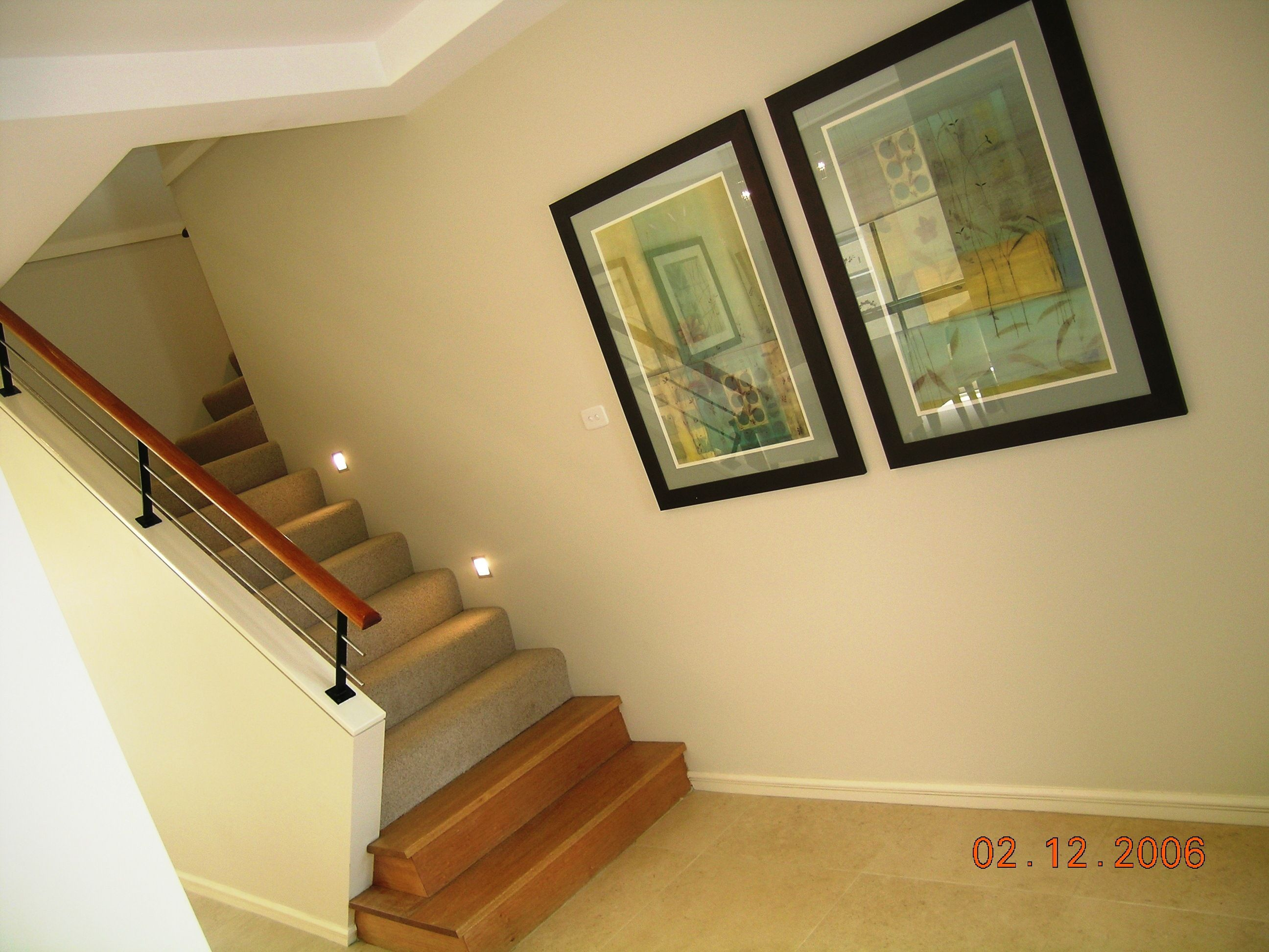 Half height wall, timber bullnose, timber handrail and stainless ...