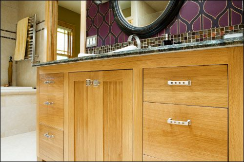 Rift Sawn White Oak Vanity. Inset Doors and Drawers with No Bead