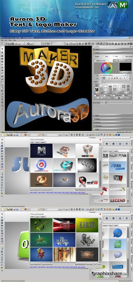 Aurora 3D Text & Logo Maker 12 06 08 Software   Projects to
