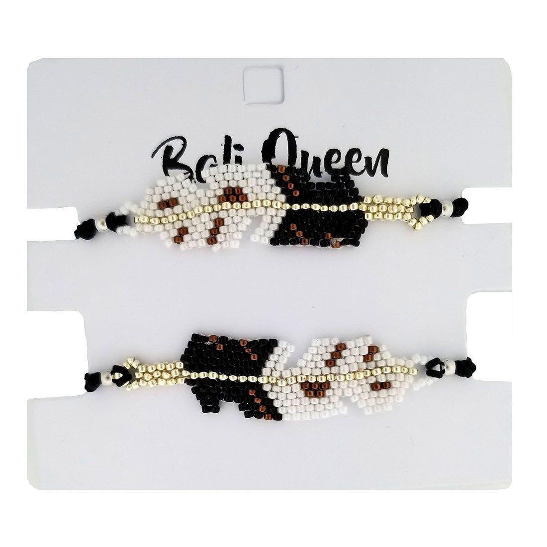 Beaded Black Feather Design Friendship Bracelets 2-Pack Adjustable One Size