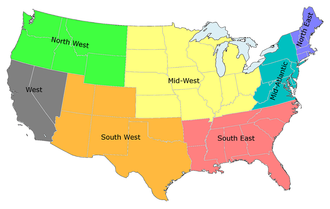 United States Map With Region United States Regions Labeled