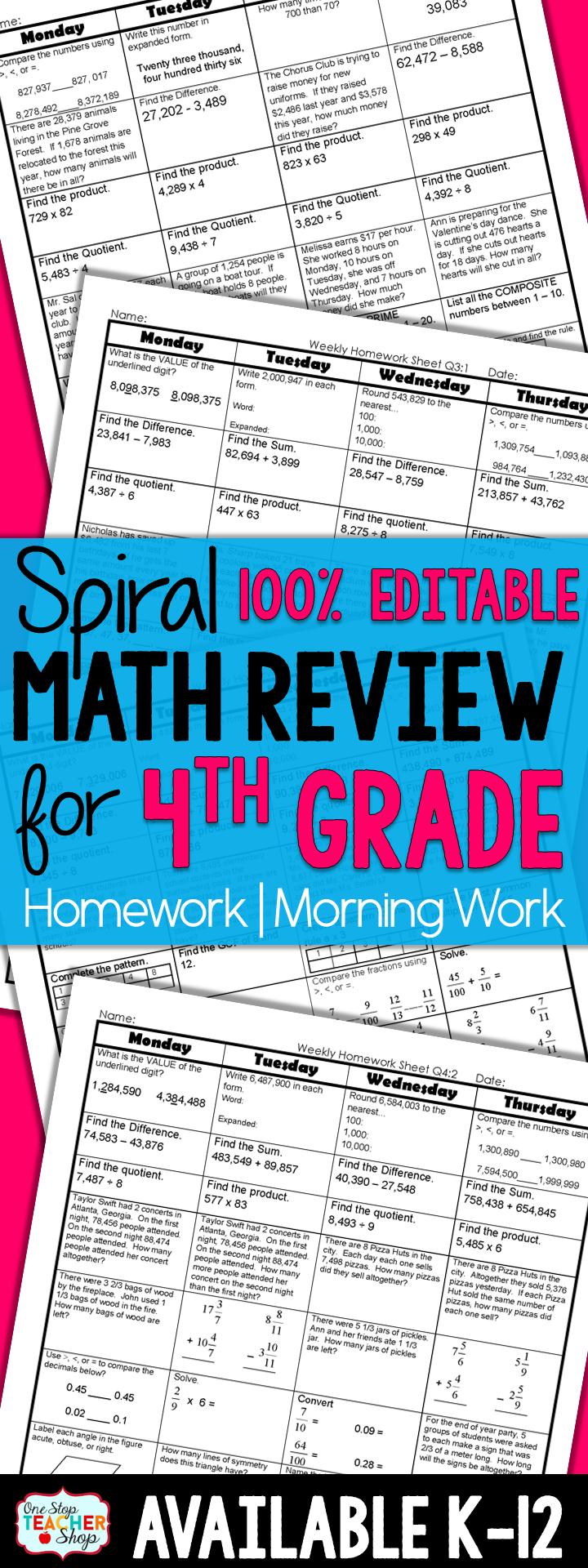 4th Grade Math Spiral Review | 4th Grade Math Homework 4th Grade ...