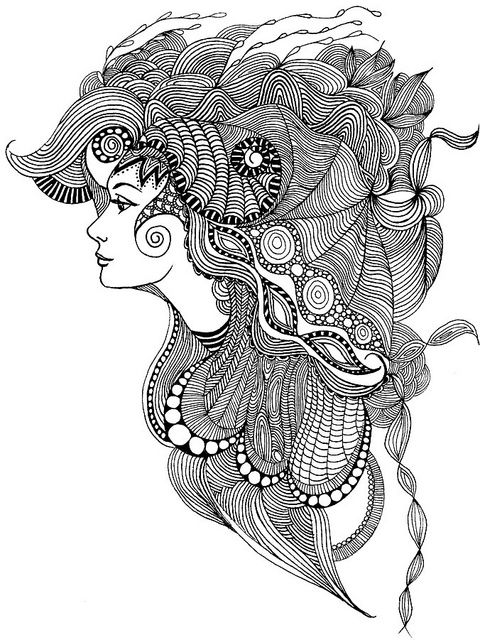 Head dress zentangle app and face for Doodle art faces