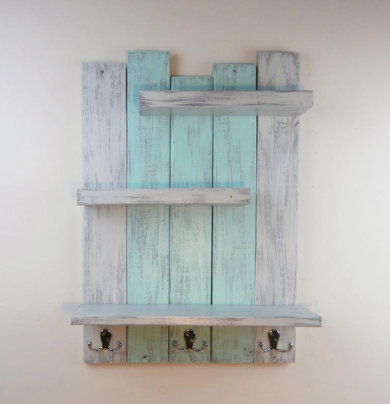 Photo of Shabby Teal Distressed Shelves – Reclaimed Wood Bath Shelf With Towel Hooks – Beach Above Toilet Shelves–3 Tier Bathroom Shelves With Hooks