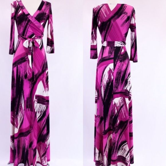 Arriving SoonAbstract Print Maxi Dress Stunning abstract print full length maxi dress features a mock wrap, v-neckline, belt tie and 3/4 sleeves. Sizes: Small, Medium, Large.     Comment below with your size and I will create a separate listing for you to purchase.   Arrives in a week, serious buyers comment below with the size you will need and I will notify you when it arrives Dresses Maxi
