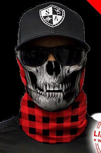 Salt Armour SA Blue Lumberjack Skull Face Shield Sun Mask Balaclava Neck Gaiter