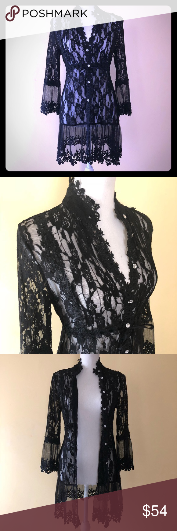 abc9601c62 Super sexy lace long cardigan. Just throw over a camisole and go! Or  nothing and stay 😜. Size M. Beautiful rhinestone buttons. And a tie  closure too.