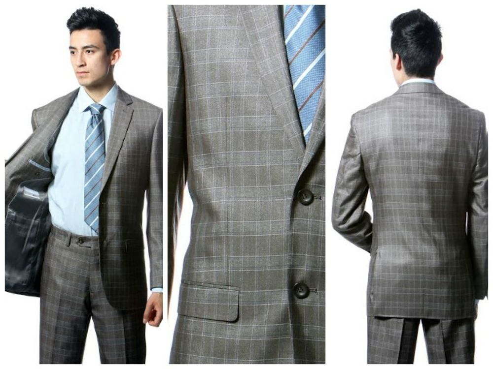 Details about Squares Checkered suits Grays ,slim fit, flat front ...