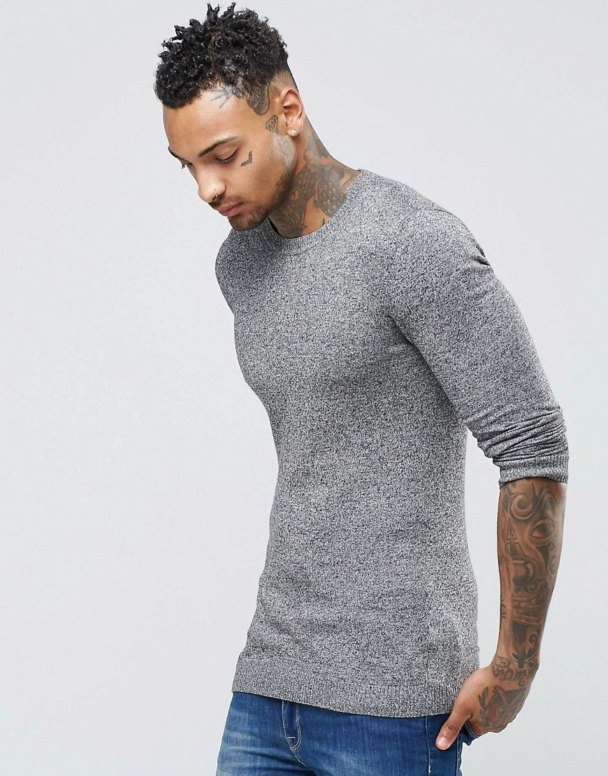 ASOS Muscle Fit Cotton Crew Neck Sweater - Gray