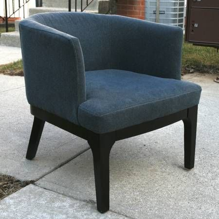 Best West Elm Oliver Chair Blue Marled Microfiber 2 – 200 400 x 300