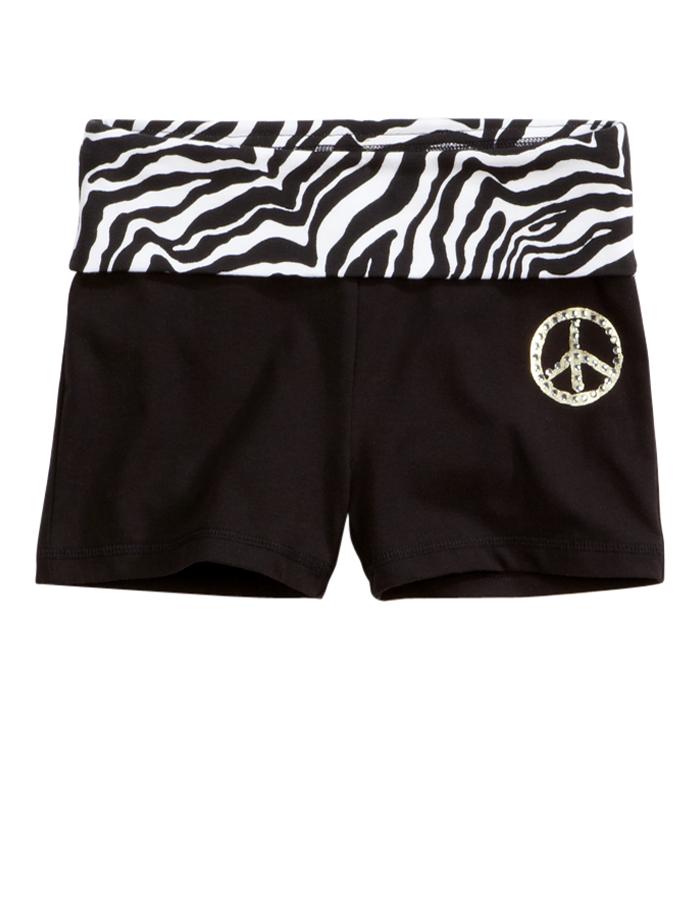 Girls Clothing  Active  Patterned Waistband Yoga Shorts -7739