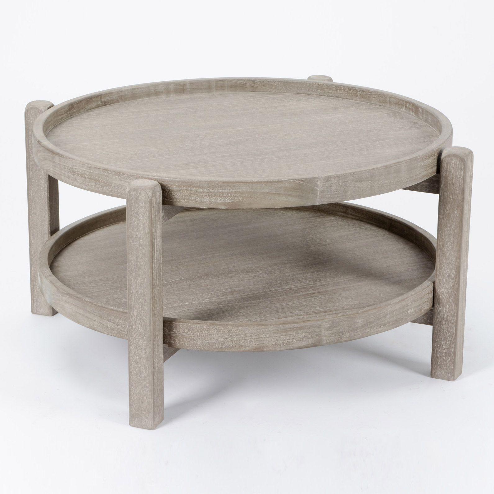 Table Basse En Bois Ronde 2 Plateaux Diametre 80 Cm Hubert Amadeus Table Basse Table Basse Bois Table Design