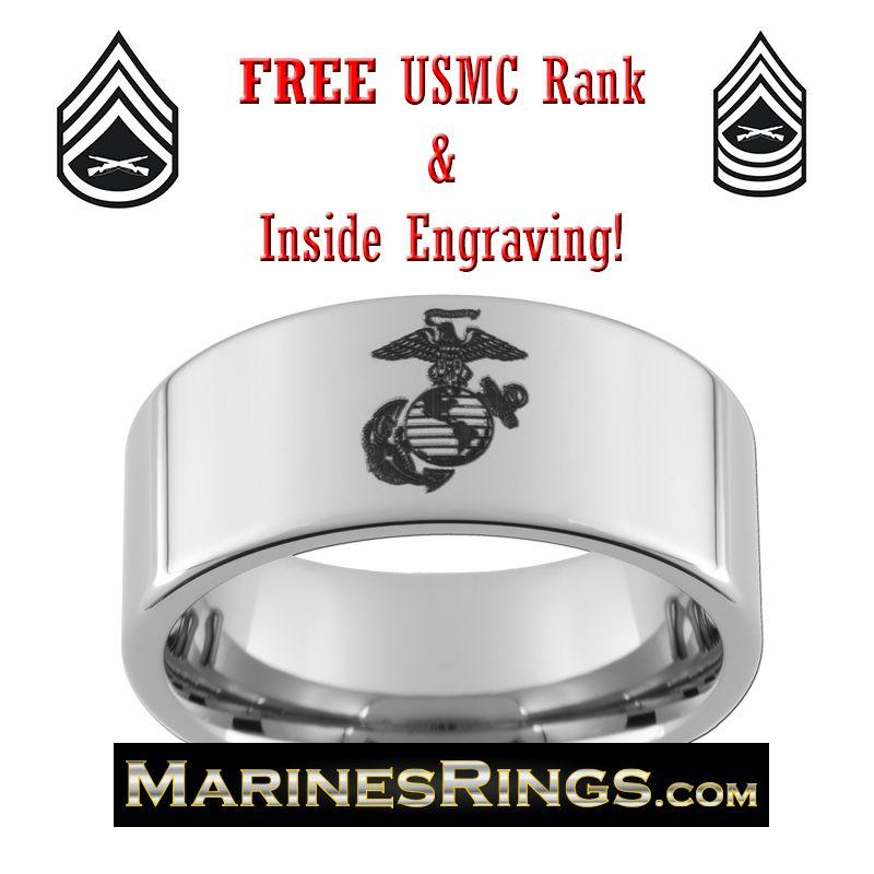 10mm Marine Corps Tungsten Ring Usmc Ring Marine Corps Jewelry Marine Gifts