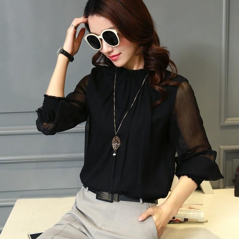 539b7ef2397b74 Plus Size Spring Autumn Tops Blouses Office Mesh Chiffon Shirt Casual Long  Sleeve Slim Shirts Sweet Stand Neck Blouse