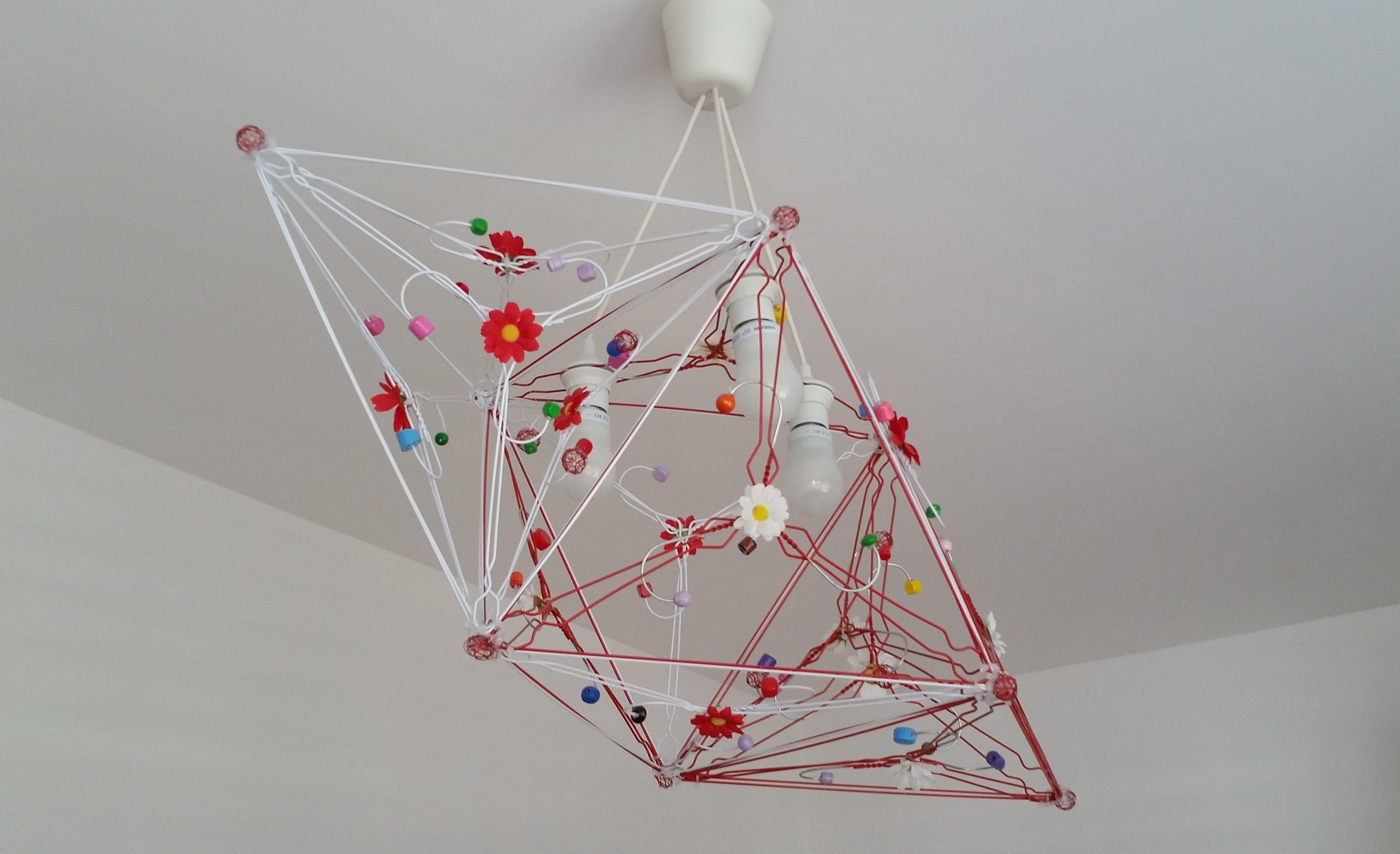 Lampenschirm aus Kleiderbügel. Die Blumenwiese im Zimmer, was will ...