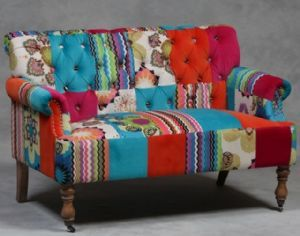 Large Two Seater Vibrant Multi Coloured Patchwork Sofa Patchwork
