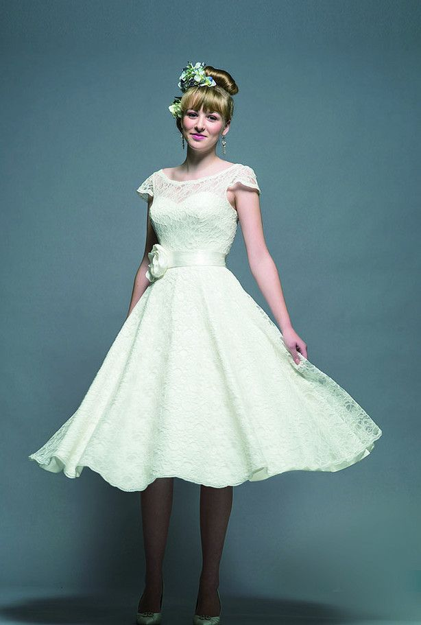 Fifties style tea length wedding dresses and steel boned corsets ...