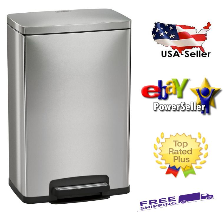 Details About New Stainless Steel Freshener 13 Gallon Step Trash