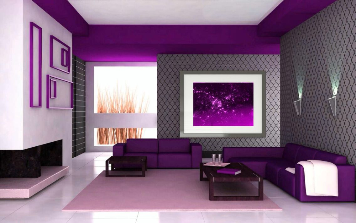 Inspiring Pictures Of Lovely Home Interior Design Ideas : Terrific Purple  Living Room Decoration Ideas With Comfy Purple Sofa Sectionals Fea.