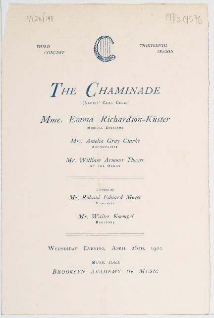 The Chaminade Ladies Glee Club, April 1911 | dissertation