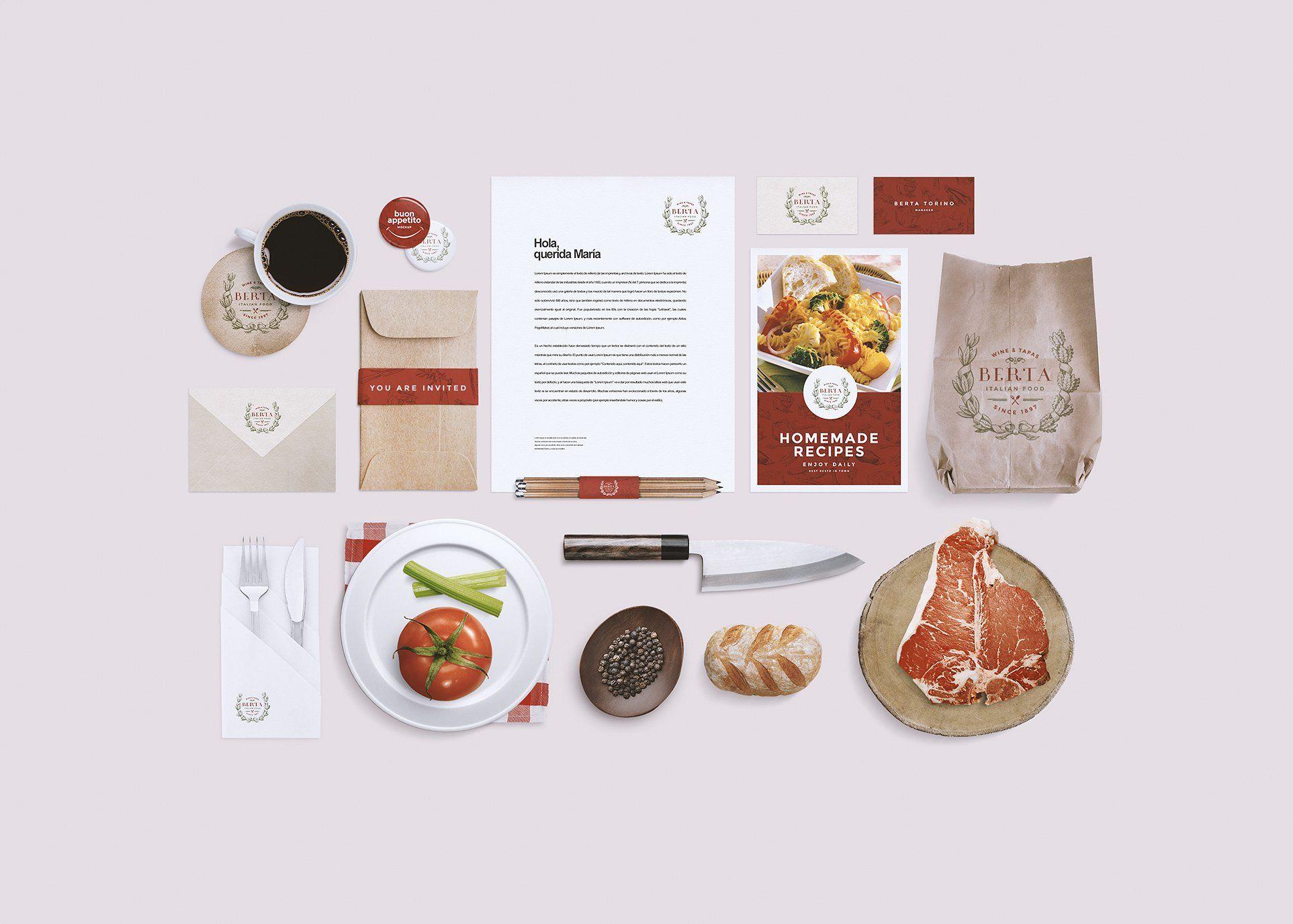 Restaurant Food Identity Mockup Mockup Free Psd Branding Mockups Food Mockup