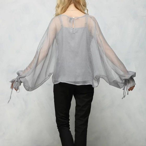 Grey Plain Belt 2-in-1 Buttons Dolman Sleeve See-through Sexy Blouse