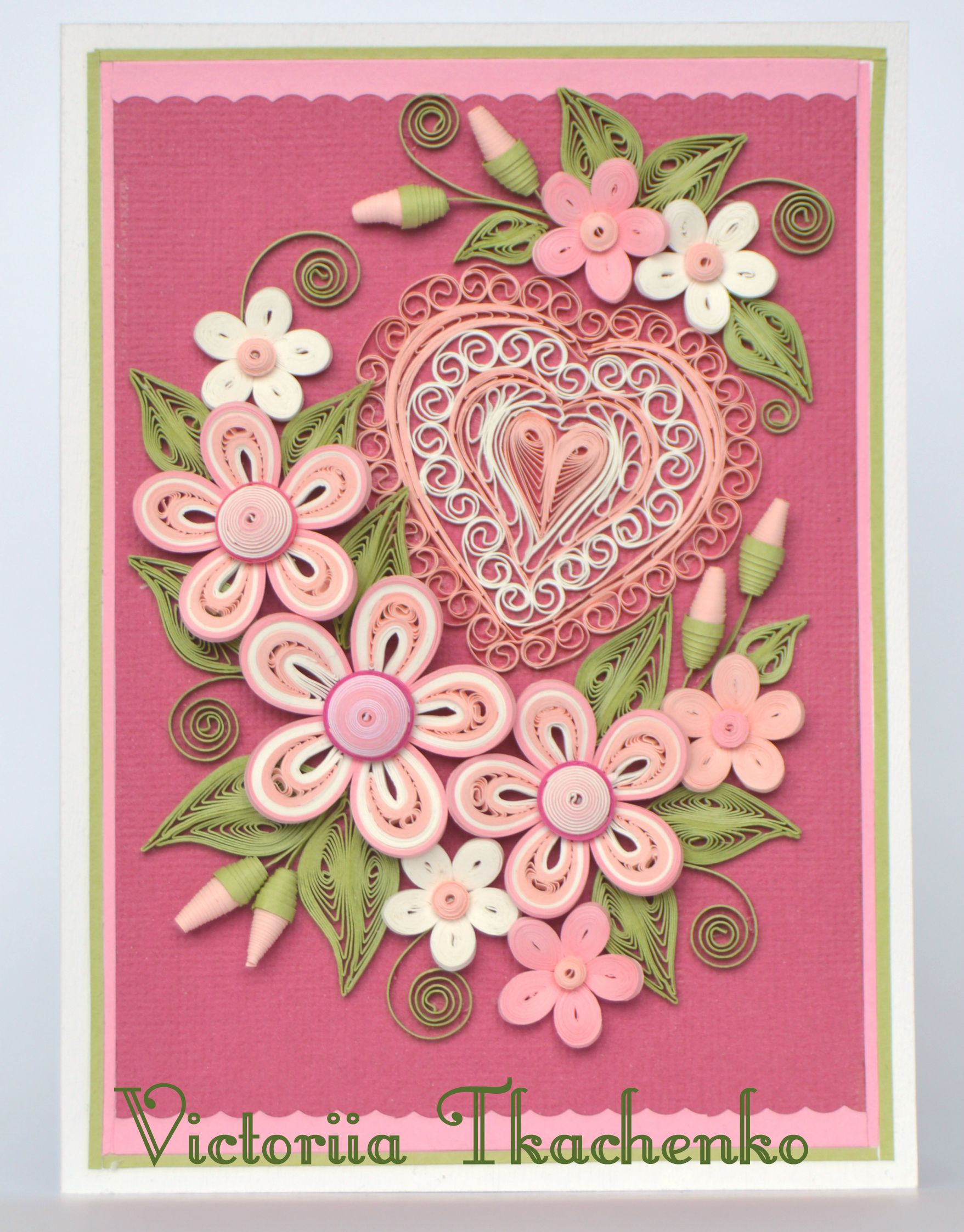 Elegant Valentine Quilling Card  Anniversary quilling Card  Love