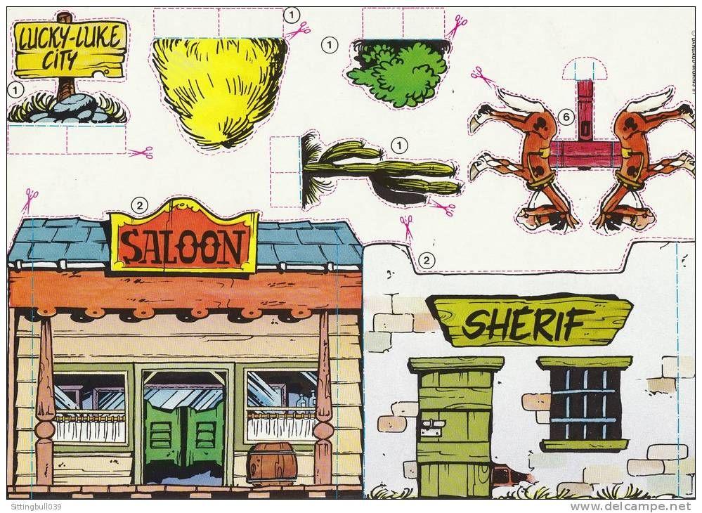Lucky luke rare pub vache qui rit 4 planches d couper et monter d cor de la ville du far - Maison papier a decouper ...
