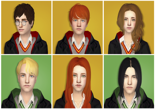 Sim Request To Create Harry Potter Characters So Here We Have Harry Ron Hermione Lily Her Image Was Completely F Sims Harry Potter Characters Harry Potter