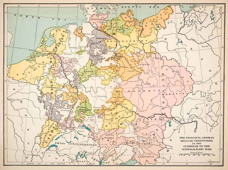 1915 print map germany secular territories schmalkaldic wars swiss 1915 print map germany secular territories schmalkaldic wars swiss xep8 ebay gumiabroncs Gallery