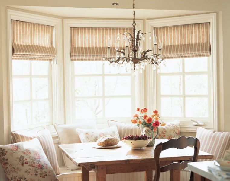 Roman shades for the living room different print Window treatments for bay window in living room