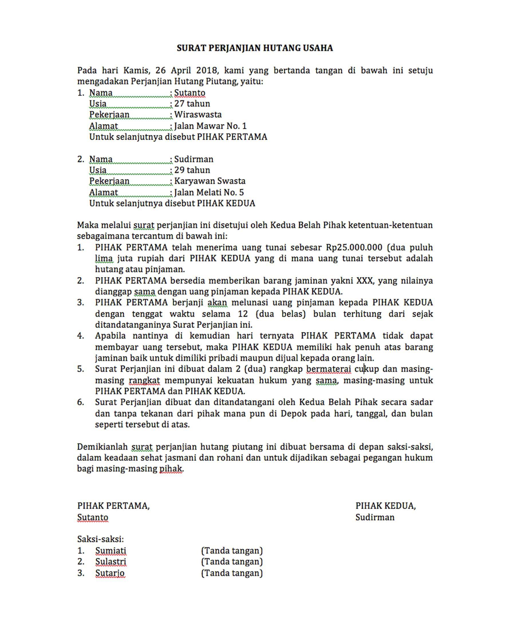 Contoh Surat Perjanjian Piutang Surat Desain Desain Cv