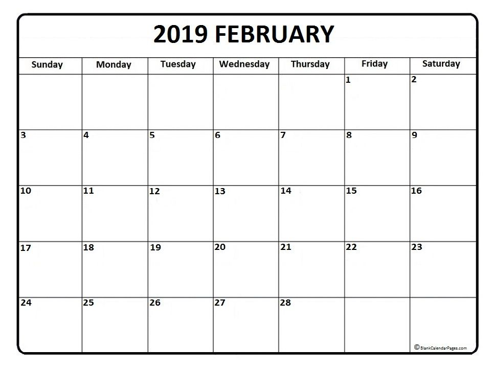 graphic relating to Feb. Printable Calendar titled February calendar 2019 printable and free of charge blank calendar