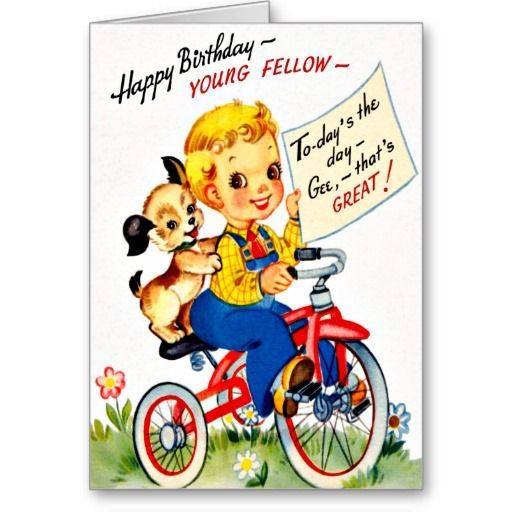 Tri cycle and puppy fun retro happy birthday card cards happy birthday cards bookmarktalkfo Image collections